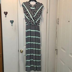 Merona mint, navy & white striped maxi dress